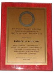 Distinguished Clinician Award, AAPM&R, Patrick Foye MD