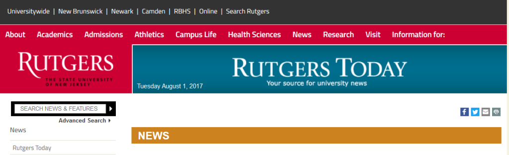 Header of Rutgers Today Website