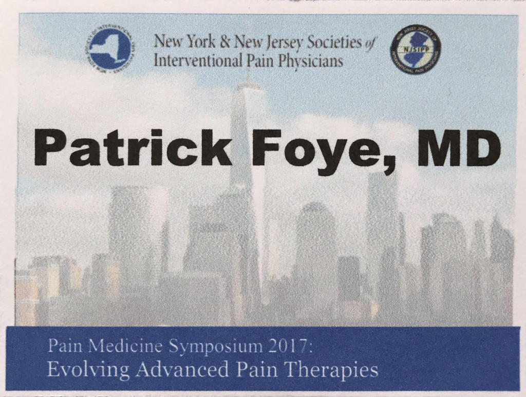 NYSIPP NJSIPP Patrick Foye MD New Jersey Society of Interventional Pain Physicians
