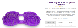 purple coccyx gel cushion, foldable, for tailbone pain, coccyx pain