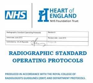 NHS Cover Page, Radiology Guidelines