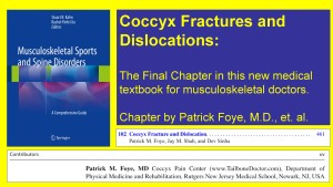 Coccyx Fractures and Dislocations, Tailbone Pain, Chapter in Textbook on Musculoskeletal Sports and Spine Disorders, by Patrick Foye MD