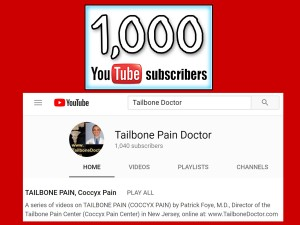 YouTube, Tailbone Pain Doctor, Coccyx Pain Doctor, 1k Subscribers