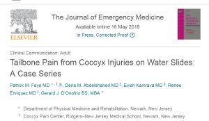 Waterslides Causing Coccyx Injuries, Patrick Foye, Journal of Emergency Medicine, 2018