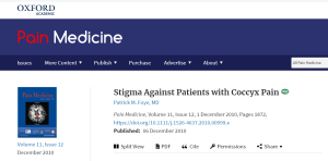 Stigma Against People with Coccyx Pain, Tailbone Pain, Published in Pain Medicine