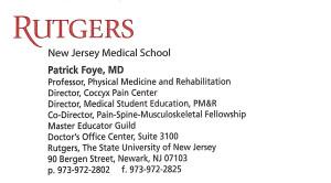 Patrick M Foye MD, Business Card, Tailbone Pain Center, Rutgers New Jersey Medical School