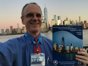 Patrick Foye MD, NYSIPP, NJSIPP, with matching NYC skyline in background, November 2018