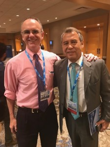 Patrick Foye MD with Ricardo Plancarte Sanchez, MD, 2018. Dr. Plancarte originated Ganglion Impar Injections, which he first published in 1990. Dr. Foye has published 3 alternative techniques for performing these nerve blocks. Shown here at NYSIPP-NJSIPP, 2018.