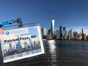 Patrick Foye MD's name tag, NYSIPP, NJSIPP, with matching NYC skyline in background, 2018
