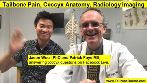 Jason Woon PhD and Patrick Foye MD, answering coccyx questions on Facebook Live, Feb-2019