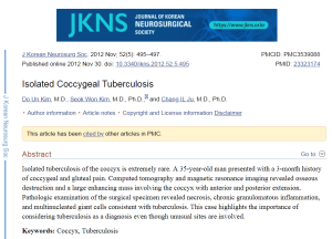 Isolated Coccygeal Tuberculosis, 2012 article in the Journal of Korean Neurosurgical Society