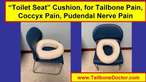 Toilet seat cushion, for Tailbone Pain, Coccyx Pain, Pudendal Nerve Pain, 2-views