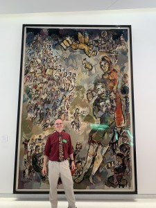 "Marc Chagall's Tapestry, ""Job"", at the Shirley Ryan Ability Lab (formerly the Rehabilitation Institute of Chicago), with Patrick Foye MD"