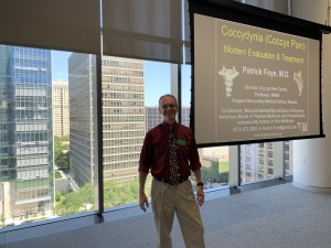 Dr. Patrick Foye M.D., Lecturing on Coccyx Pain (Tailbone Pain), at the Shirley Ryan Ability Lab, (formerly RIC: Rehabilitation Institute of Chicago), July 24, 2019.