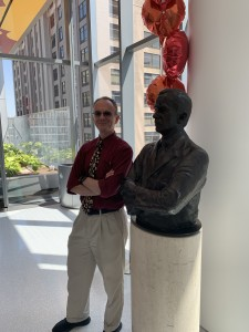 Patrick Foye MD, with statue of Henry B. Betts, MD, (Dr. Foye's former Chairman at RIC: the Rehabilitation Institute of Chicago)