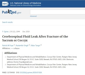 Cerebrospinal Fluid Leak after Coccyx Fracture, Published
