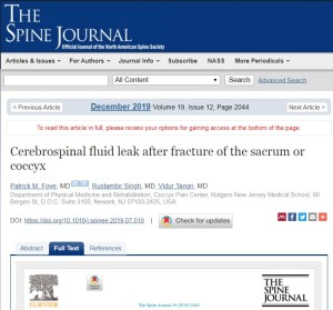 Cerebrospinal Fluid Leak after Coccyx Fracture, Published in The Spine Journal