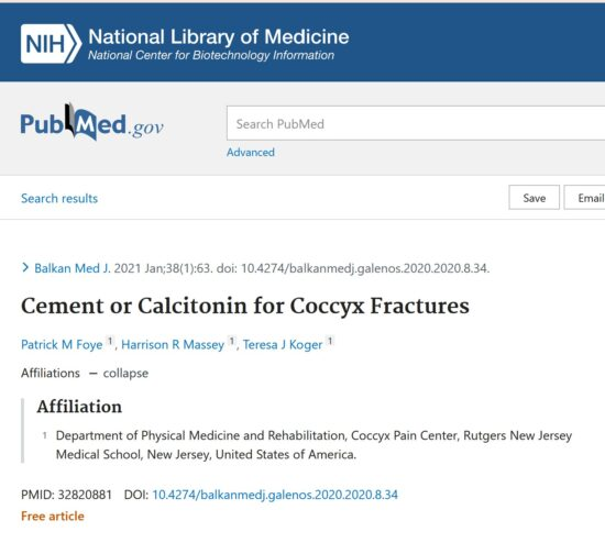 Cement or Calcitonin to Coccyx Fractures, for Tailbone Pain, Coccydynia, by Patrick Foye, MD