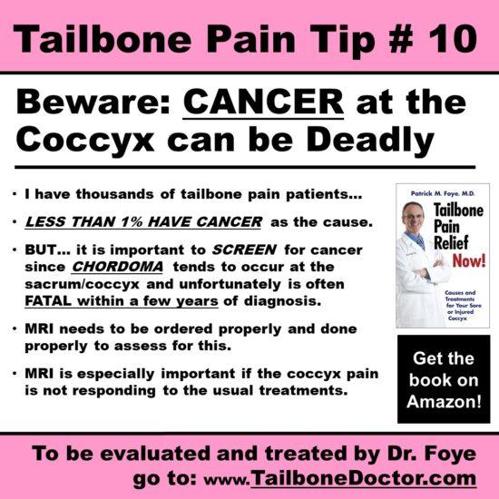 Tailbone Pain Tip 10, Tailbone CANCER can be Deadly, Chordoma, Tailbone Pain, Coccyx Pain, Coccydynia