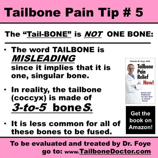 Tailbone Pain Tip 5, the Coccyx is 3-5 bones, not one, Coccydynia
