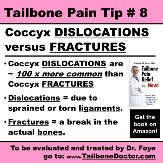 Tailbone Pain Tip 8, Coccyx DISLOCATIONS versus FRACTURES, COCCYX PAIN, Tailbone Pain, Coccydynia